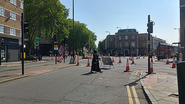 The five way junction closed for the marathon and eerily empty