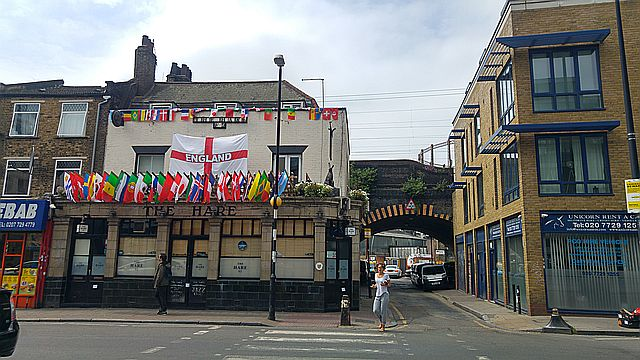 Enough flags? Along Mare Street
