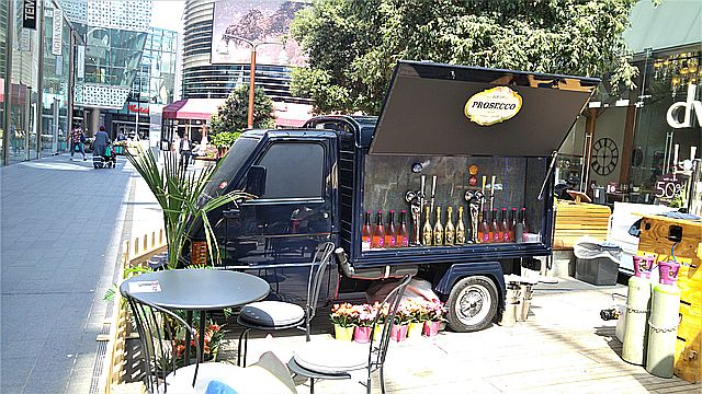 The prosecco truck at Westfield, Stratford